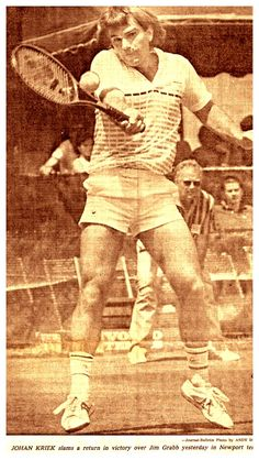#tbt July 12, 1981: as posted on Twitter by @ThisDayInTennis: @johankriek beats Hank Pfister 3/6 6/3 7/5 in the final of the Tennis Hall Of Fame Championship in Newport #johankriek #tennis #tennishistory #TennisHallOfFameChampion #ATP #ATPTour #throwbackthursday