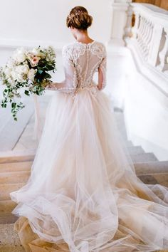 long sleeve lace ball gown #fashion