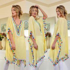 bluza vaporoasa galbena cu ciucuri  pret bluza vaporoasa galbena ieftine Cauta acum Haine online ieftine si de firma din magazinele online de haine! Cover Up, Dresses, Fashion, Vestidos, Moda, Fashion Styles, Dress, Fashion Illustrations, Gown