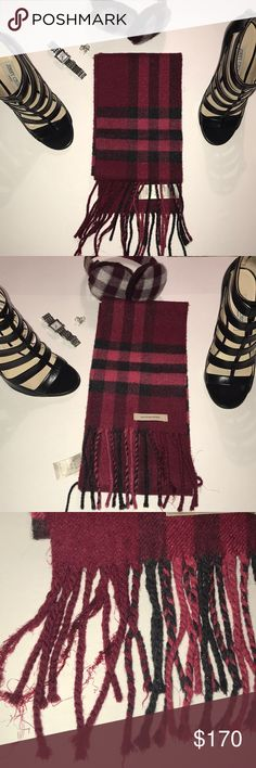 Red Sparkly Cashmere Burberry scarf. Scotland Red Sparkly Cashmere Burberry scarf.  Made in Scotland Red and black plaid 81% cashmere, 19% metallic fibers  Tassels are fraying a bit Beautiful scarf and the perfect winter accessory Burberry Accessories Scarves & Wraps
