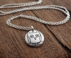 Fine Silver Owl Necklace by Lulubugjewelry on Etsy