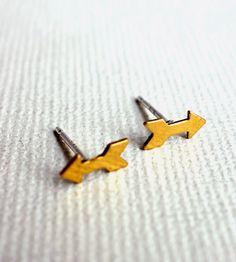 tiny brass arrow earrings