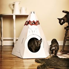 'Native American Teepee for Fluffy Little Critters' from Loyal Luxe, made of 100% recycled cardboard