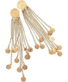 Orecchini pendenti impreziositi da monete dorate