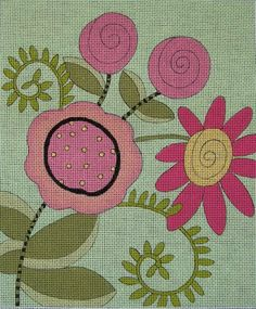 Four Flowers - Hand Painted Needlepoint Canvas