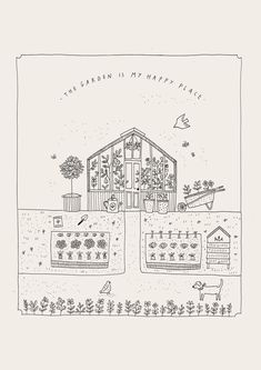 Ryn Frank is a freelance illustrator, specialising in hand drawn illustrations. Garden Drawing, Garden Illustration, Home Tattoo, Illustrations, Colouring Pages, Doodle Art, Line Drawing, Easy Drawings, Painting Inspiration