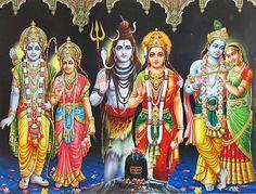 Three Divine Couples - Shiva Parvati, Rama Sita and Radha Krishna (Reprint on Glazed Paper - Unframed))