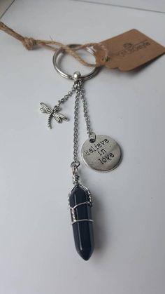 Porte-clés en pierre fine obsidienne noire avec breloques de Positive Attitude, Two By Two, Personalized Items, Stone, Hands
