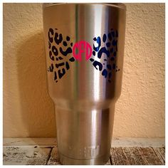 Leopard Print Bow Monogrammed Decal for YETI / RTIC by MotherMeI