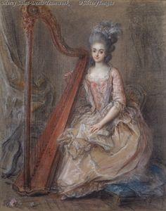 Presumed Portrait of Madame de Genlis Playing a Harp Painting by Francois Guerin. Georgiana Duchess Of Devonshire, Duchess Georgiana, Bourbon, Georgiana Cavendish, Saint Aubin, Woman Painting, French Art, Marie Antoinette, 18th Century