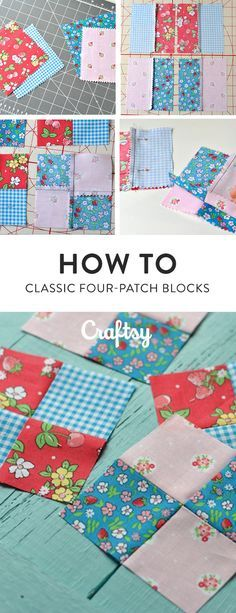 Sewing four-patch quilt blocks is fun and fast! This classic block is a favorite of quilters. Patchwork Quilt Patterns, Beginner Quilt Patterns, Quilting For Beginners, Quilting Tips, Quilting Tutorials, Quilting Projects, Beginner Quilting, Patchwork Ideas, Hand Quilting