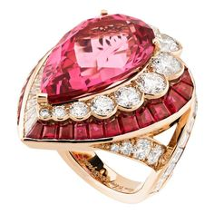 Van Cleef & Arpels Goutte de Spinelle ring with a 14.32ct spinel surrounded by diamonds and rubies.