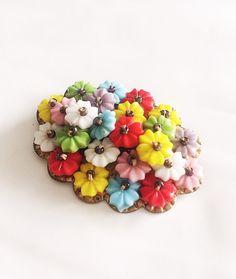 Early Miriam Haskell Brooch Czech Glass Flowers by BebeAndKay, $45.00