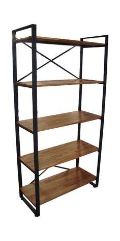 Steel and wood bookshelf
