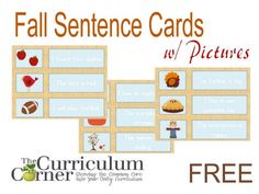 Fall center activity for reading. Here is a fall sentences pocket chart activity for kindergarten or first grade.