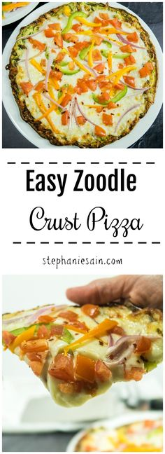 Easy Zoodle Crust Pizza is made with zucchini noodles and just a couple other ingredients. Great way to make a pizza crust with zucchini. Low carb, gluten free crust that can be topped with all of your favorite pizza toppings.