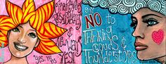 Art journal -NoYes- Paint over collage-  Ella de la Fuente