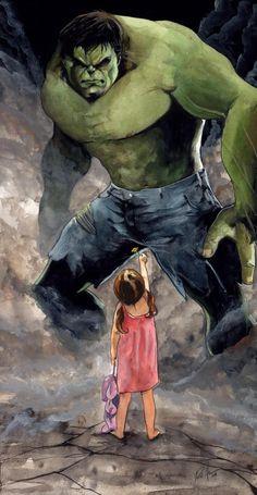 Hulk meets a young girl.  #Hulk #Comics #Marvel