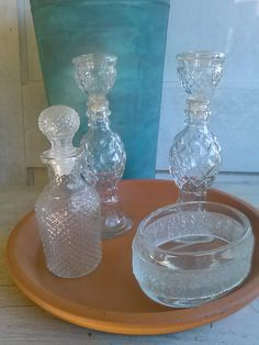 Avon bottles, clear glass perfume bottles, collectible Avon