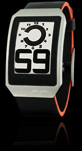 PHOSPHOR E Ink Digital Hour Clock Watch with Black Leather Band - great deal at $165