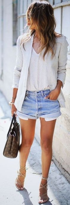 #summer #stylish #outfitideas | Stripe Blazer + White Tee + Denim Shorts