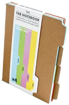Tab Notebook (by Suck UK): Office Products Office Deco, Planning School, Planner Organization, File Folder Organization, Organizing Paperwork, Pen And Paper, Journal Notebook, Smash Book, Bookbinding