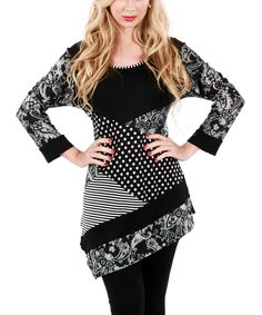 Loving this Gray & Black Abstract Asymmetrical Tunic on #zulily! #zulilyfinds