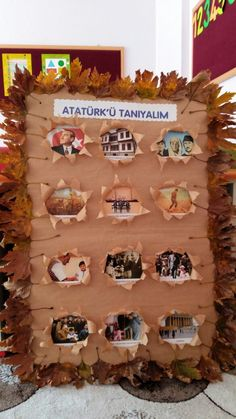 Ataturk board in autumn Kindergarten Activities, Preschool Activities, Science For Kids, Art For Kids, Egypt Crafts, Classroom Charts, Teaching Time, English Classroom, Painting Lessons
