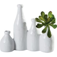 Dot & Bo 4-Pc. Emporia Milk Bottle Vases (36 CAD) ❤ liked on Polyvore featuring home, home decor, vases, decor, colorful vases, white vase, colorful home decor and white home decor