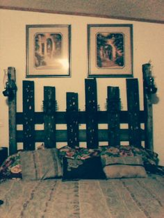Homemade headboard, old fence posts, and panels.
