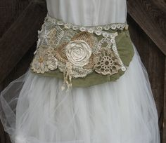 Image detail for -belt leather with vintage crochet lace doilies by BonnieHarris