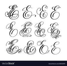 Calligraphy Lettering Script Font E Set Stock Vector – Illustration of calligrap… - 健康的な生活 Tattoo Lettering Design, Graffiti Lettering Fonts, Hand Lettering Alphabet, Calligraphy Alphabet, Lettering Styles, Script Lettering, Calligraphy Fonts, Graffiti Alphabet, Islamic Calligraphy
