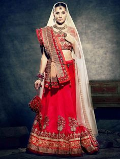 Red Velvet Lehenga Choli with Resham and Zari Work