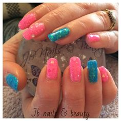 Pink & blue gel polish on natural nails with added glitter