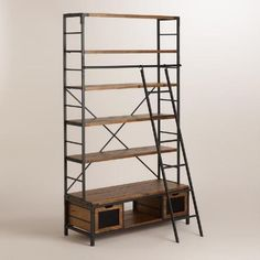 WM Wood and Metal Bookcase with Ladder $599 - Knockoff of RH 1950's Dutch Shipyard Triple Shelving $3095-3595 | World Market