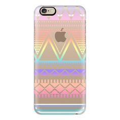 iPhone 6 Plus/6/5/5s/5c Case - Cotton Candy Rainbow Tribal Transparent ($40) ❤ liked on Polyvore featuring accessories, tech accessories, phone cases, phone, electronics, cases, iphone, iphone case, transparent iphone case and tribal pattern iphone case