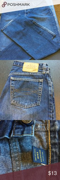 Jeans dark wash Abercrombie Good condition jeans.  Slight wear at cuff shown in cover photo.  100 percent cotton.  Measures 30 inch waist, 30 inch leg inseam. Abercrombie & Fitch Jeans Flare & Wide Leg