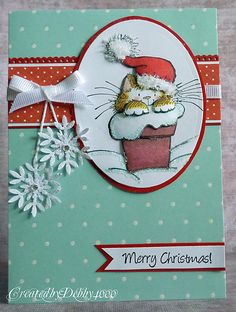 handcrafted Christmas card ... delight cat in a Santa hat ... punched and glittered snowflakes hand on string ... aqua, red and white ... glittered hightlights ... delightful card frin A Scrap Journey ... Penny Black stamp
