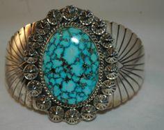 Gorgeous Vintage Navajo Mike Spencer Carico Lake Turquoise Sterling Silver Bracelet 82 Grams