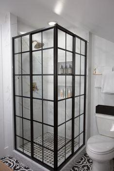 New bathroom ideas black shower walls Ideas Modern Master Bathroom, Modern Bathroom Design, Small Bathroom, Bathroom Black, Modern Bathrooms, Bath Design, Master Bedroom, Bathroom Doors, Shower Doors