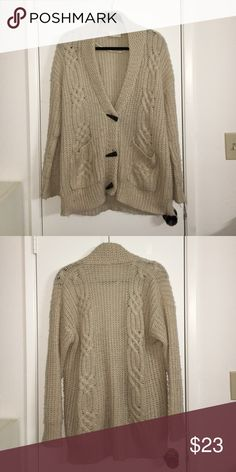 Chunky cream knit cardigan! chunky knit cream colored cardigan! long and covers your butt. three claw buttons and two pockets. super soft, warm & comfortable. no trades, will accept negotiation for prices LA Hearts Jackets & Coats