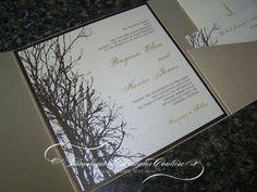winter wedding ivitations | Rayann -Winter Tree- Pocket Fold Wedding Invitations