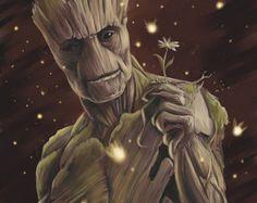 I Am Groot - Print - Guardians of the Galaxy digital art painting gotg