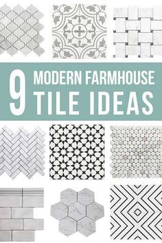 9 Modern Farmhouse Tile Ideas (+ How To Tile A Floor) - Marble Arabesque, Decorative Cement Tiles, Basket Weave, Herringbone […] Shower Floor Tile, Bathroom Floor Tiles, Tile Bathrooms, Bathroom Art, White Bathroom, Wall Tiles, Small Bathroom, Master Bathroom, Bathroom Lighting