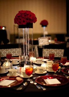 Black, white and red wedding centerpiece