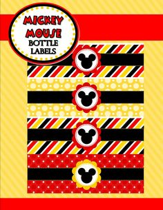 Mickey Mouse Party - BOTTLE Labels - Mickey Party - Mickey Mouse Birthday Party - Inspired - Mickey Printables - Minnie- INSTANT Download by Krownkreation on Etsy
