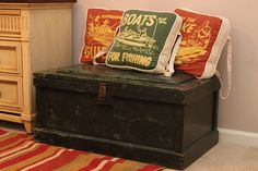 Great North Woods rustic boys bedroom- boat/ lake/ canoe pillows