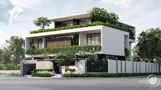 Villa Design, Facade Design, Exterior Design, House Front Design, Modern House Design, Modern Architecture House, Architecture Design, Grill Door Design, Facade House
