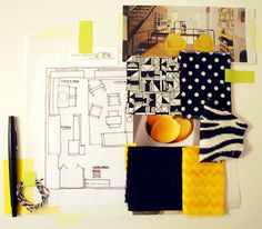 This Interior Design Mood Board Uses A Rough Sketch Of Room With Photos And Fabric Swatches To Tell The Designers Story