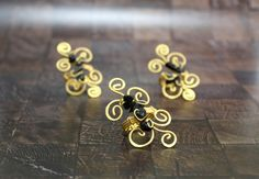 Wire wrapped gold adjustable ring Matte gold ring by CatsAndSheeps